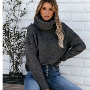 GINA Cropped Thick Knit Turtleneck Sweater